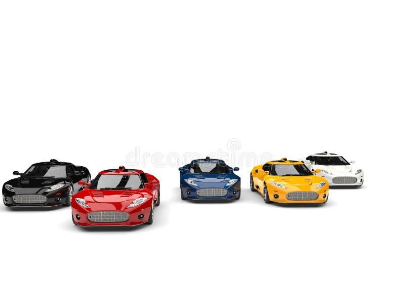Opinião dianteira super surpreendente de competência de carros dos esportes - vermelha conduzindo a raça - ilustração do vetor
