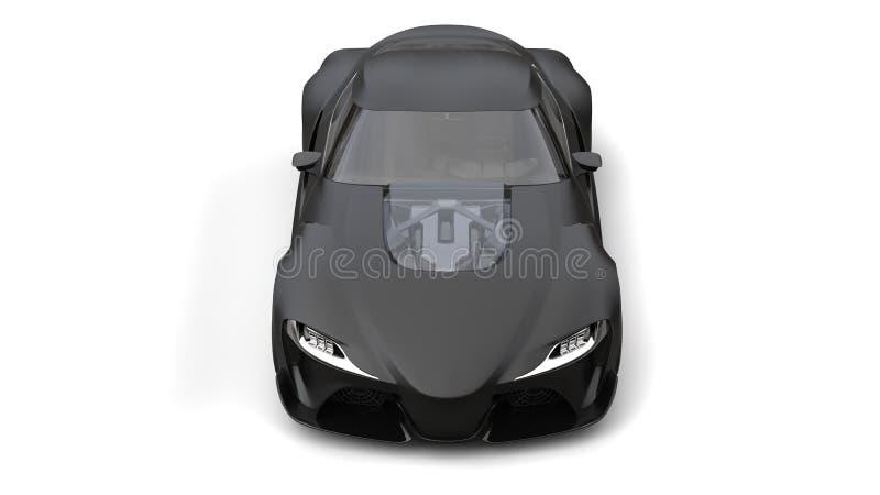 Opinião dianteira superior automobilístico dos esportes super pretos matte surpreendentes ilustração royalty free