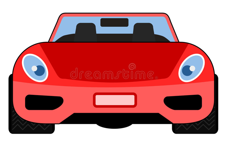 Opinião dianteira vermelha de carro de esportes ilustração do vetor