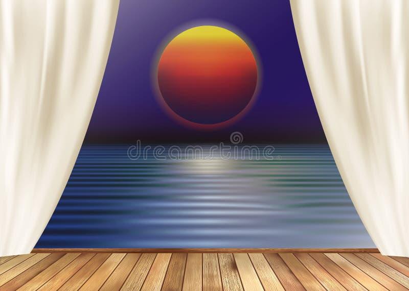 Opinião do assoalho de madeira e de janela de vidro, sol vermelho, por do sol com reflexão no papel de parede da água ilustração stock