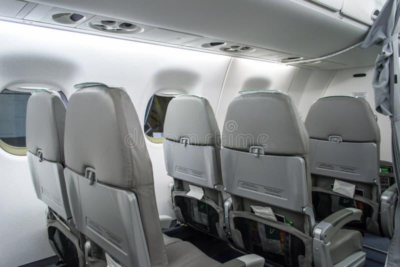 Opinião do banco traseiro do avião de Alitalia foto de stock