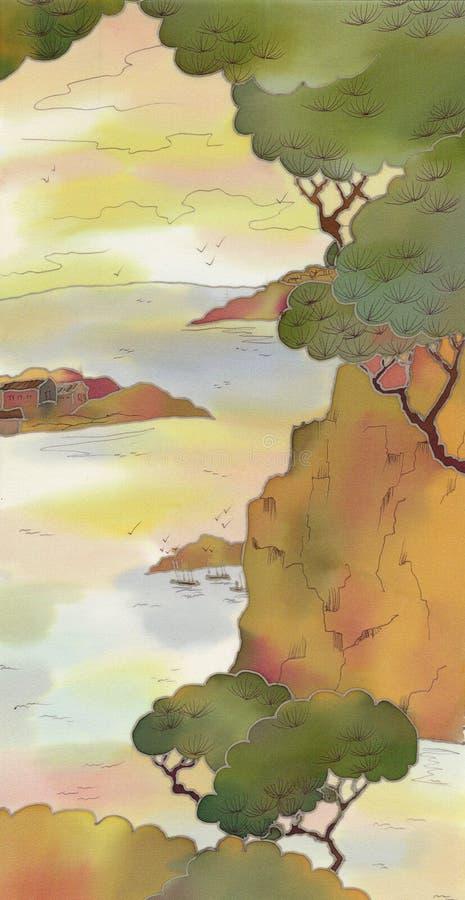 Opinião do batik de Japão ilustração royalty free