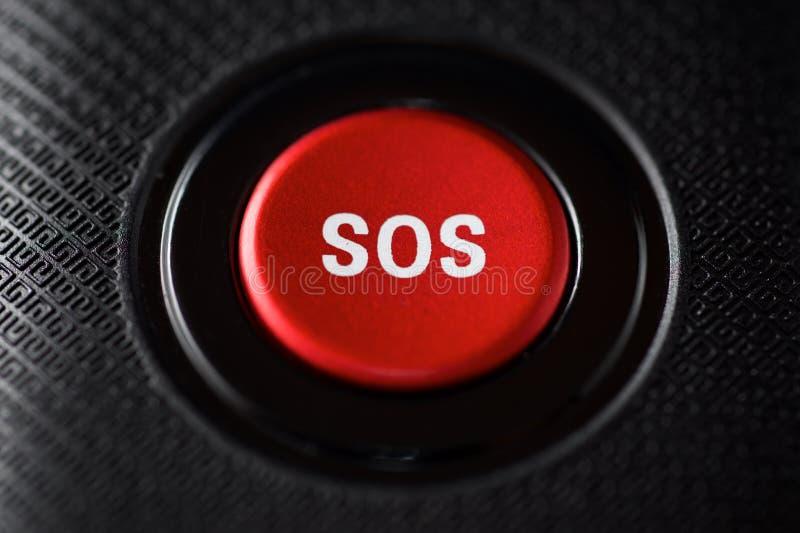 Opinião do botão do SOS imagem de stock royalty free