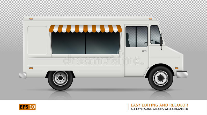Opinião do caminhão do alimento do lado direito ilustração royalty free