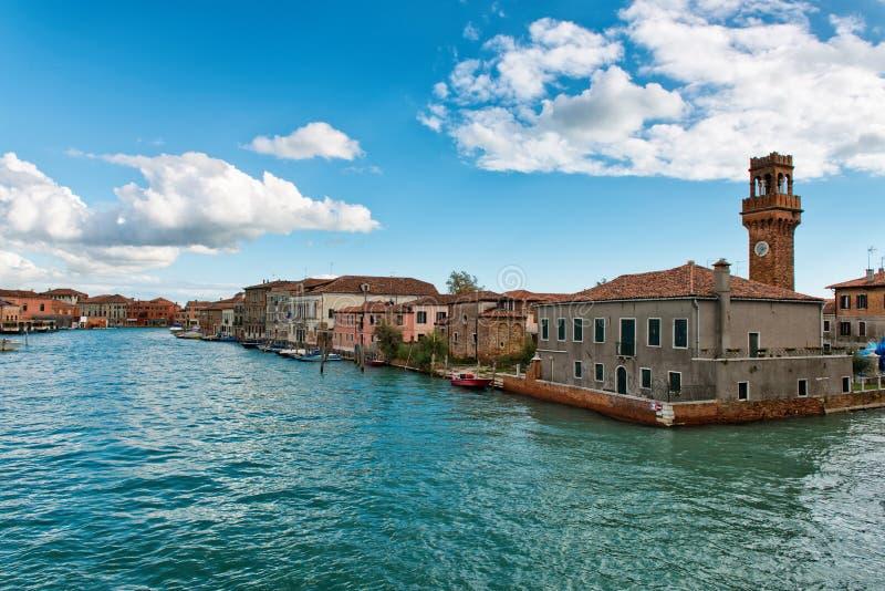 Opinião do canal de Murano, Veneza, Itália foto de stock
