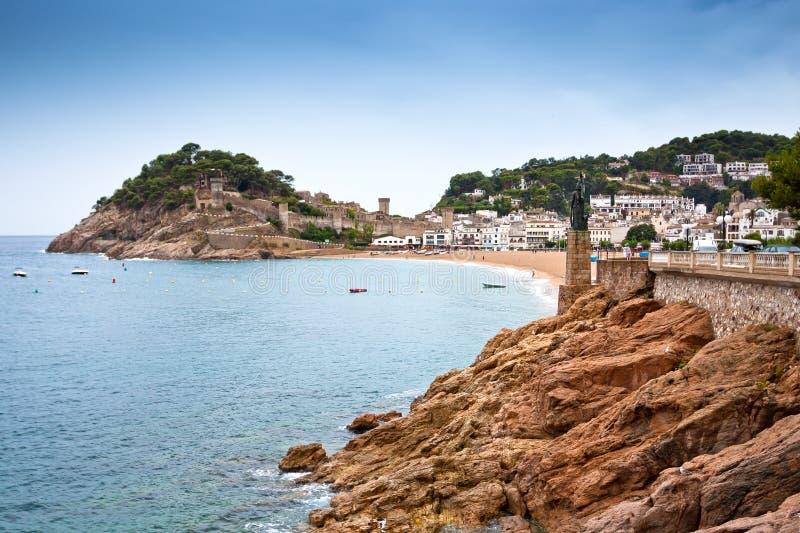 Opinião do castelo em Tossa de Mar, Spain. imagem de stock