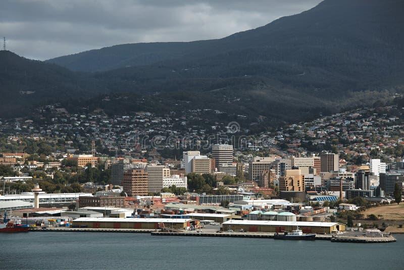 Opinião do centro de Hobart imagens de stock