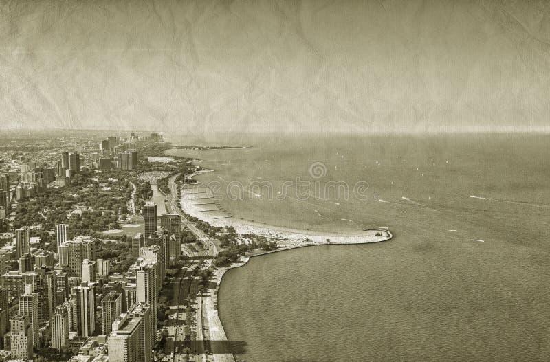 Opinião do centro do vintage de Chicago ilustração stock