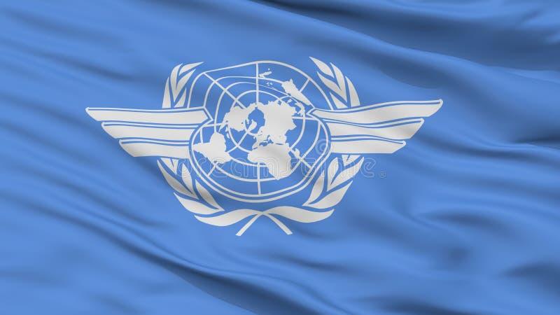 Opinião do close up da bandeira da organização de aviação civil internacional de Icao ilustração do vetor