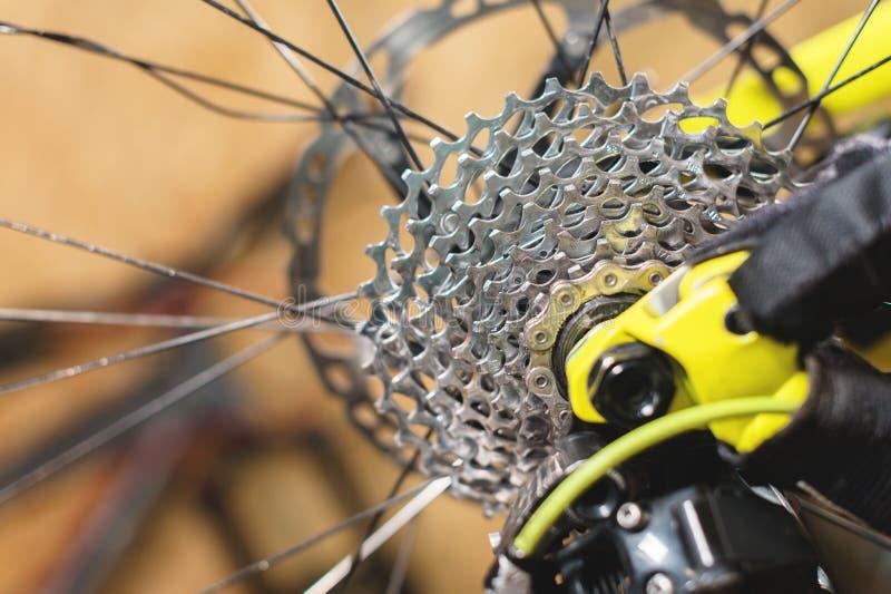Opinião do close-up da bicicleta no reparo Close-up da gaveta da engrenagem Crafting o serviço para Mountain bike Guia do reparo  fotos de stock