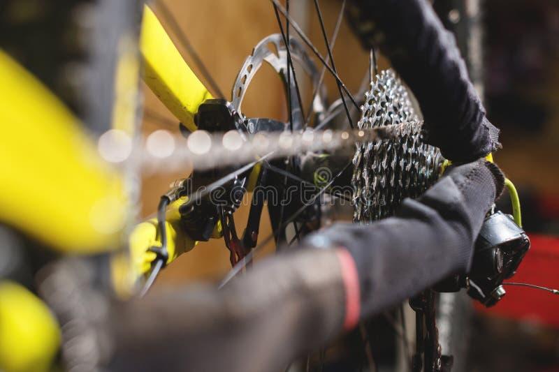 Opinião do close-up da bicicleta no reparo Close-up da gaveta da engrenagem Crafting o serviço para Mountain bike Guia do reparo  fotografia de stock royalty free