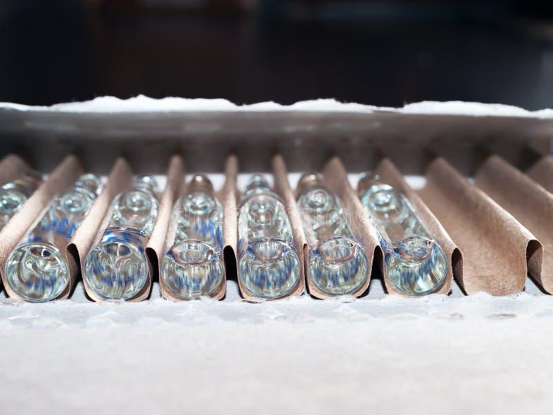 Opinião do close up da perspectiva de ampolas de vidro transparentes com medicina líquida em um pacote do cartão fotografia de stock royalty free