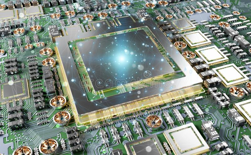 Opinião do close-up de um cartão moderno de GPU com conexões ilustração royalty free