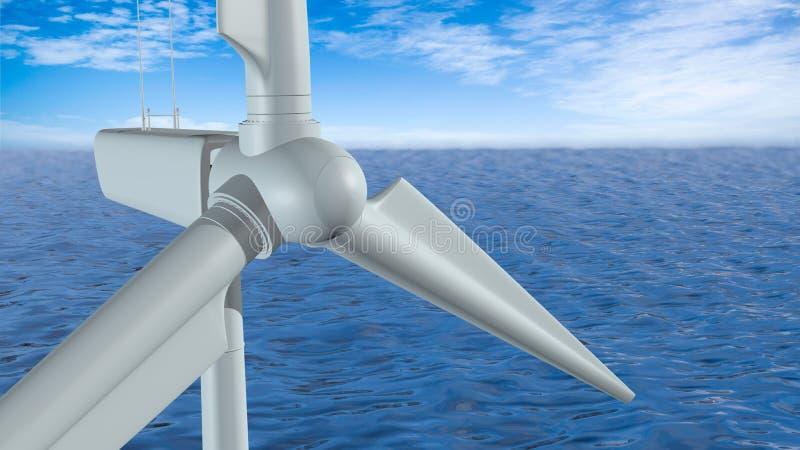 Opini?o do close-up de uma turbina e?lica branca no meio do oceano durante o dia com o c?u azul nebuloso ilustração royalty free