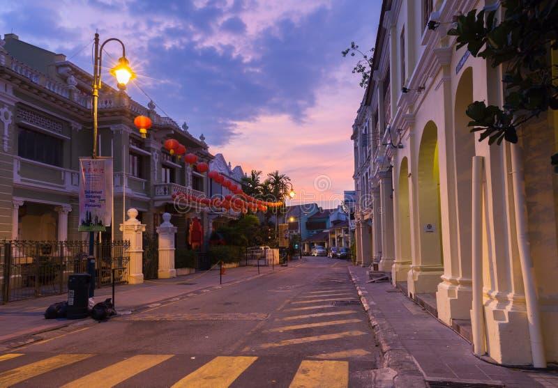 Opinião do crepúsculo na rua armênia, Penang fotos de stock royalty free