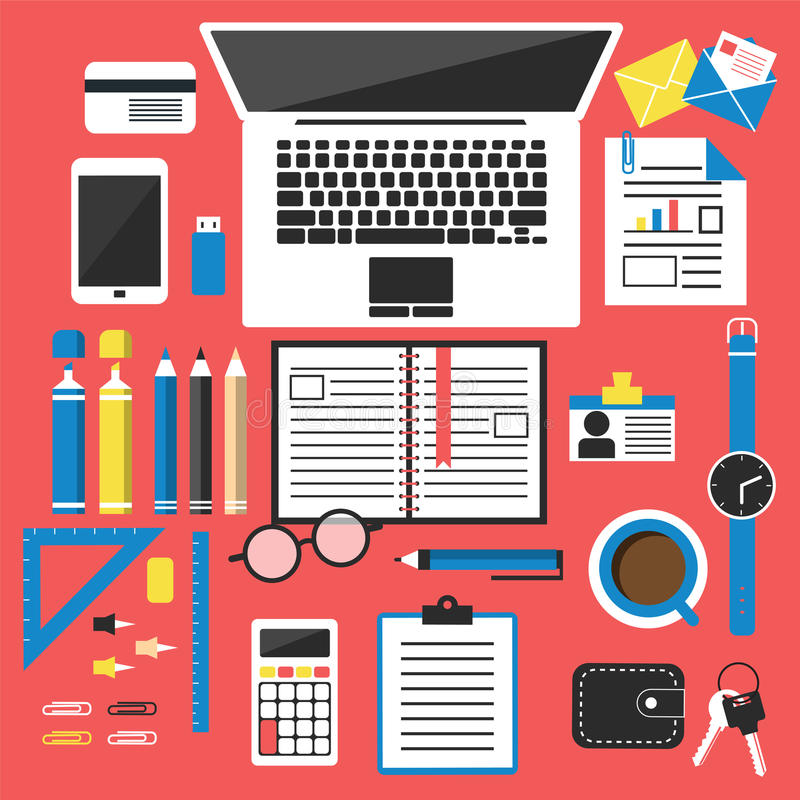 Opinião do desktop do escritório ilustração do vetor