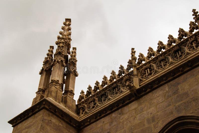 Opinião do detalhe do telhado gótico imagem de stock