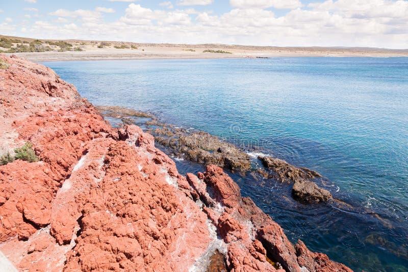 Opinião do dia da praia de Punta Tombo, Patagonia, Argentina fotografia de stock