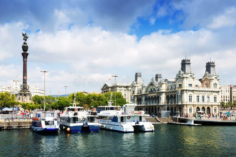 Opinião do dia do porto Vell do mar Barcelona fotografia de stock