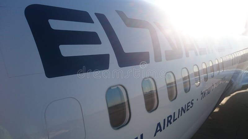 Opinião do EL Al Israeli Airline Airplane Side fotografia de stock