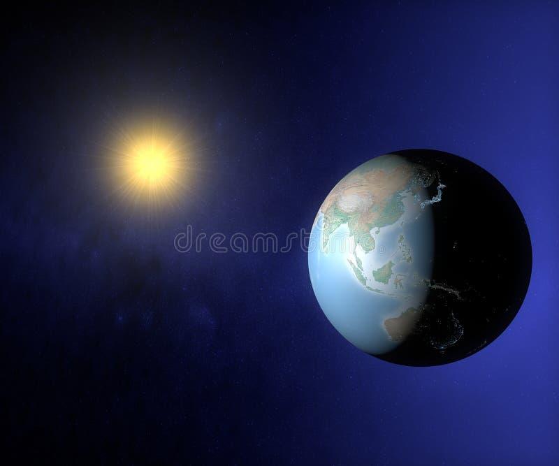 Opinião do espaço da terra Ásia e Austrália ilustração do vetor