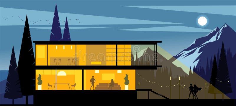 Opinião do fundo da casa de campo com as janelas luminosas nos montes no final da noite ilustração do vetor