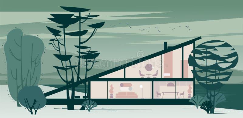 Opinião do fundo da casa de campo de inclinação de vitrificação completa do telhado ilustração do vetor