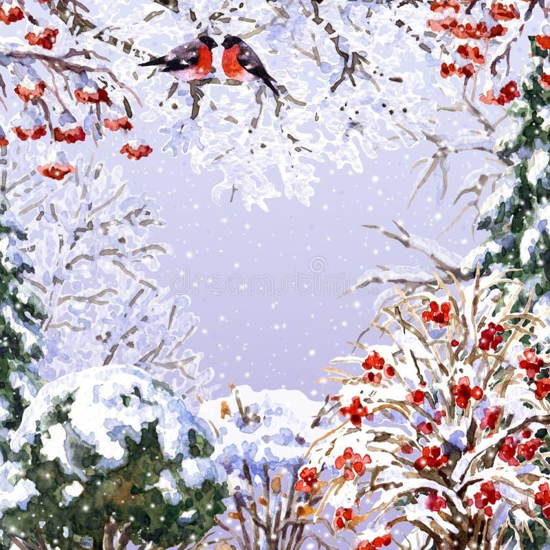 Opinião do inverno com árvores, pássaros e queda de neve ilustração stock