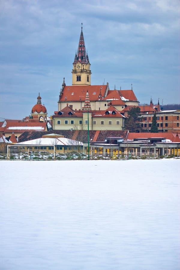 Opinião do inverno da igreja de Marija Bistrica fotos de stock royalty free