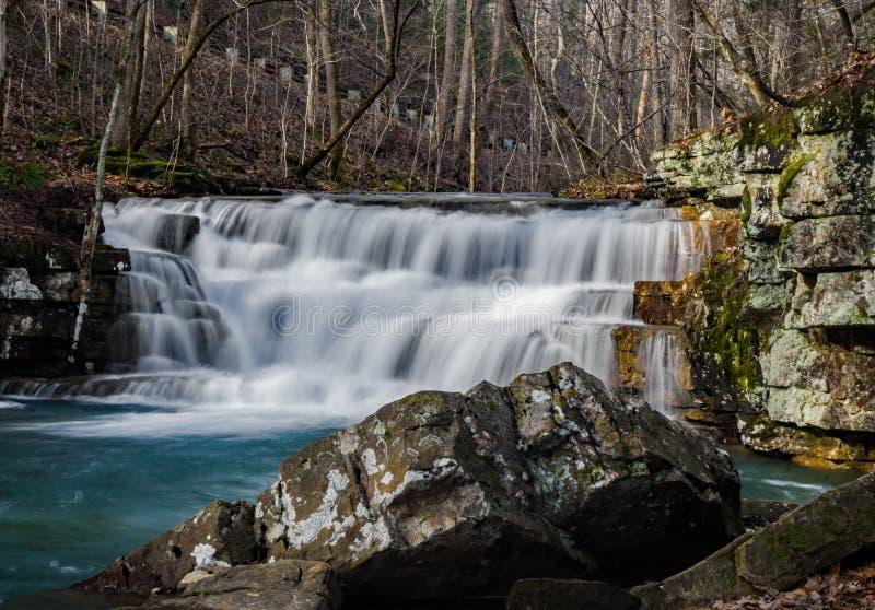 Opinião do inverno de cachoeiras das minas de Fenwick foto de stock royalty free