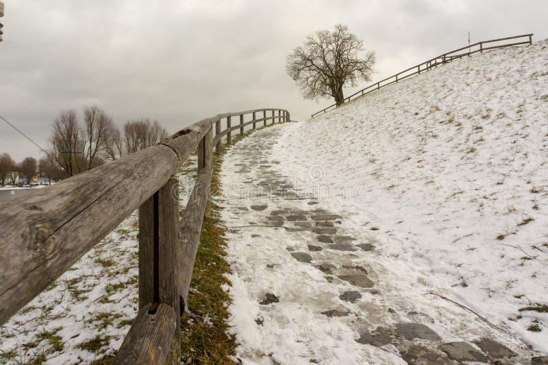 Opinião do inverno em Olympiapark Munich Munchen Alemanha fotos de stock