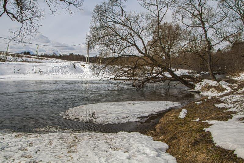 Opinião do inverno do rio de Nara Região de Kaluga imagem de stock