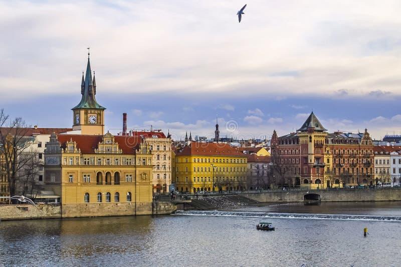 Opinião do inverno do rio de Vltava em Praga, República Checa imagem de stock