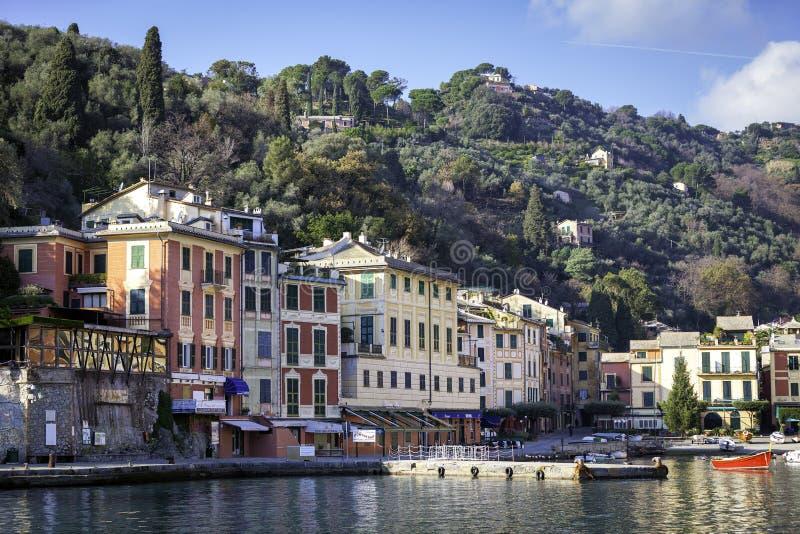 Opinião do louro de Portofino Imagem da cor foto de stock