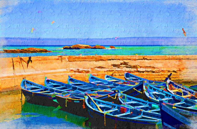 Opinião do mar com barcos azuis ilustração do vetor