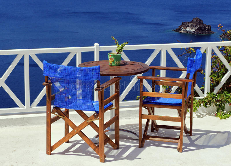 Opinião do mar de Santorini imagens de stock