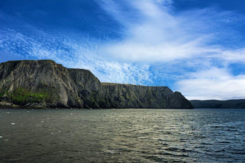 Opinião do mar em Honningsvag, Noruega fotos de stock