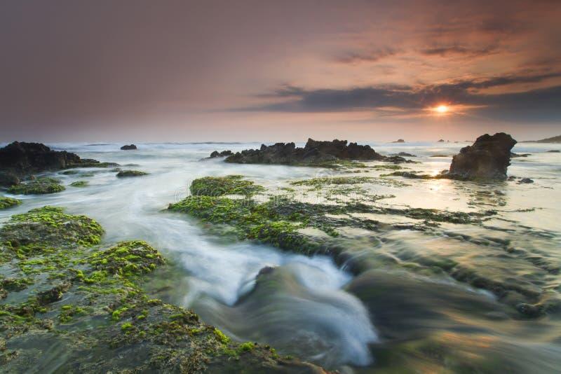 Opinião do mar, por do sol foto de stock royalty free