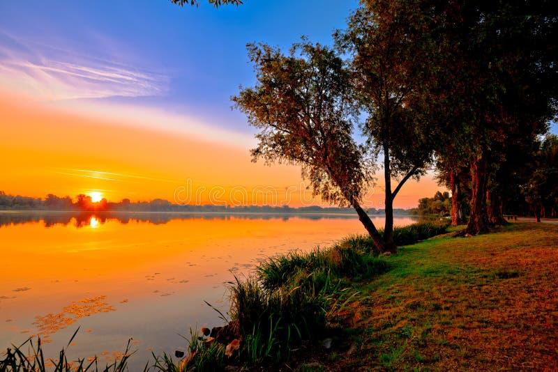 Opinião do nascer do sol do amanhecer de Inferiore do lago mantova foto de stock royalty free