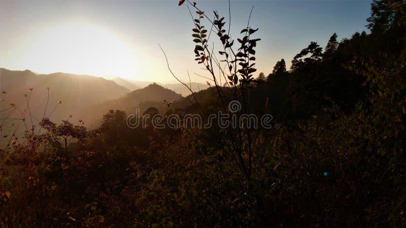 Opinião do nascer do sol da montanha foto de stock royalty free