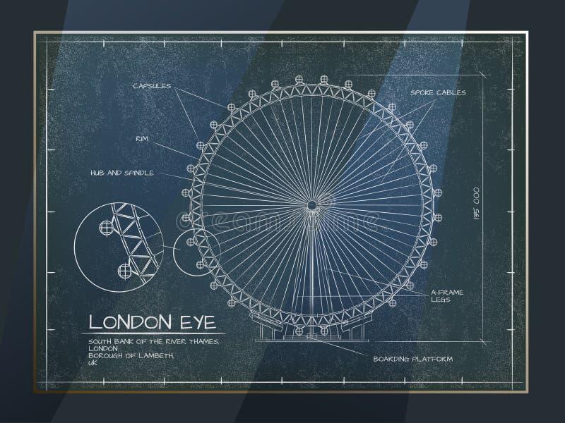 Opinião do olho de Londres ilustração do vetor