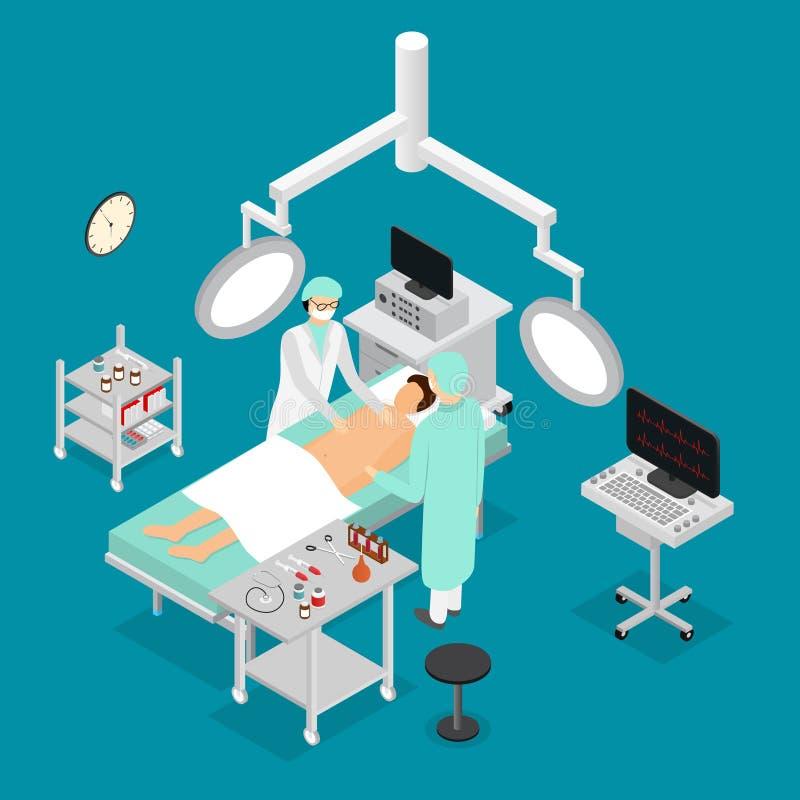 Opinião do paciente e do doutor Surgery Operating Isometric Vetor ilustração do vetor