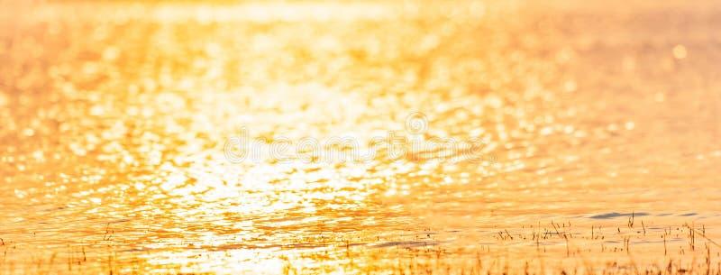 Opinião do panorama Água colorida da textura e dos fundos do lago na luz do por do sol Água de brilho bonita, dourado e de prata fotografia de stock