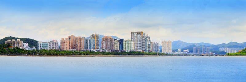 Opinião do panorama da cidade de zhuhai em do sul da cidade econômica nova da porcelana perto de Hong Kong e de macau foto de stock royalty free