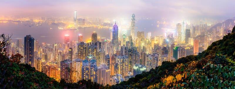 Opinião do panorama de Hong Kong do pico imagem de stock