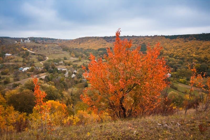 Opinião do panorama de uma vila pequena Stina na região de Vinnytsia, Ucrânia, encontrando-se em um vale profundo imagem de stock royalty free