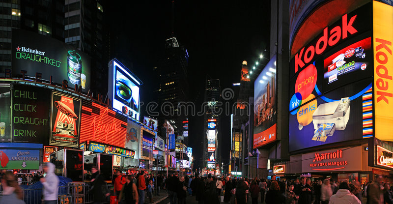 Opinião do panorama do Times Square imagem de stock