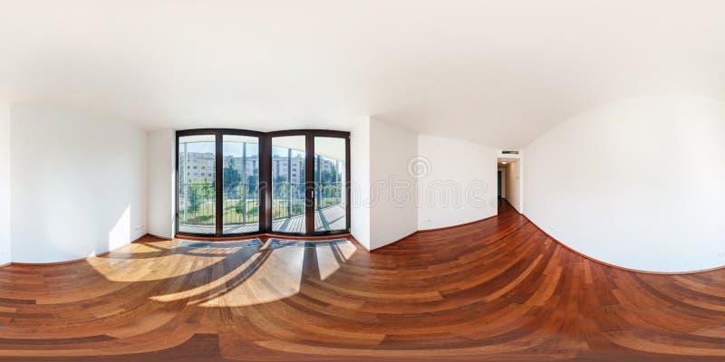 Opinião do panorama 360 no interior vazio branco moderno do salão da sala de visitas, 360 graus sem emenda completos do apartamen fotos de stock royalty free