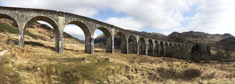 Opinião do panorama do viaduto de Glenfinnan imagens de stock royalty free