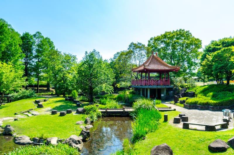 Opinião do parque no jardim zoológico de Kumamoto fotos de stock